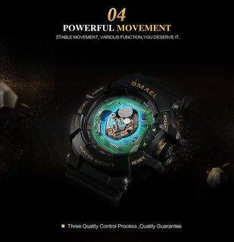 SMAEL Men Sports Watch Military Watches LED Quartz Dual Display Waterproof Outdoor Sport Men's Wristwatches Relogio Masculino 4