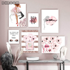 Perfume Fashion Poster Eyelash Lips Makeup Print Canvas Art Painting Pink Flower Wall Picture Modern Girl Room Home Decoration