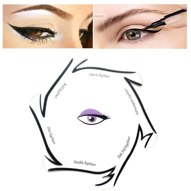6 In 1 Eyeliner Drawing Template Cards Fashion Cosmetic Tool Kits Smokey Cat Eyes Makeup Accessory Beginner Use D5BF 4