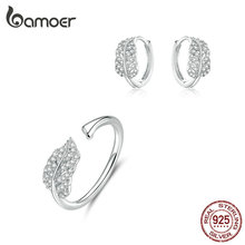 bamoer Sterling Silver 925 Jewelry Sets Leaf Open Finger Rings and Hoop Earrings for Women Female 2019 New Bijoux ZHS174