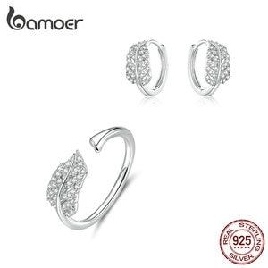 Image 1 - bamoer Sterling Silver 925 Jewelry Sets Leaf Open Finger Rings and Hoop Earrings for Women Female 2019 New Bijoux ZHS174