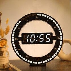Okrągły fotoreceptive LED cyfrowa ściana zegar nowoczesny Design podwójnego zastosowania ściemnianie zegary cyfrowe do dekoracji wnętrz wtyczka do usa ue w Zegary ścienne od Dom i ogród na