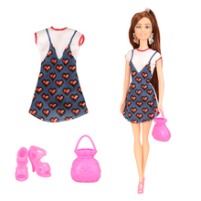 2019 Newest high quality handmade doll with clothes dress bag shoes doll accessories for barbie doll DIY birthday gift for girl plastic doll series 3 newest dress up doll with clothes accessories bottle without ball