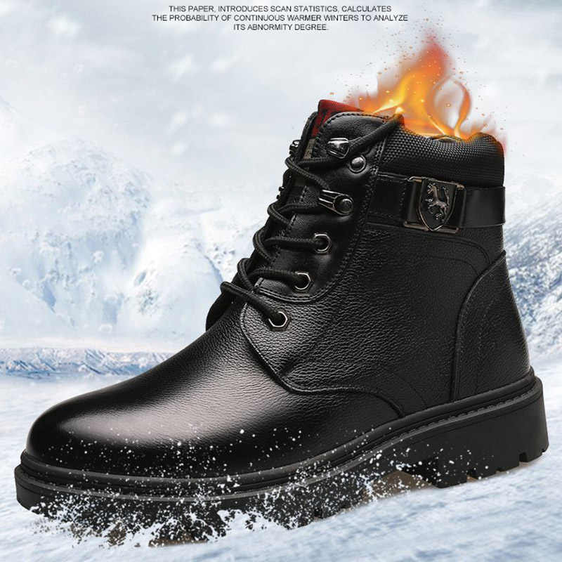 REETENE 2019 yeni erkek botları sıcak kürk kar botları erkekler hakiki deri çizmeler dantel-up erkek ayakkabısı su geçirmez olmayan kayma erkek bileğe kadar bot