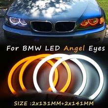 1 סט LED 2X(146mm + 131mm) כפול צבע כותנה אור LED עיני מלאך ערכת halo טבעת DRL עבור BMW 3 סדרת E90 E91 E46 ללא מקרןeye eyeeye ledeye white