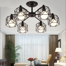 Modern LED Chandeliers American Luxury Industrial Chandelier Lighting E27 Living Room Bedroom Wrought Iron Chandelier Luminaria vintage american chandeliers living room light fixtures copper wrought iron white fabric lampshade chandelier lustre 110 240v