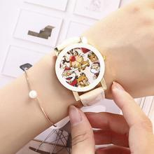 Unisex Santa Claus Deer Faux Leather Strap Analog Quartz Wrist Watch Xmas Gift Wristwatches Arabic Numbers 20
