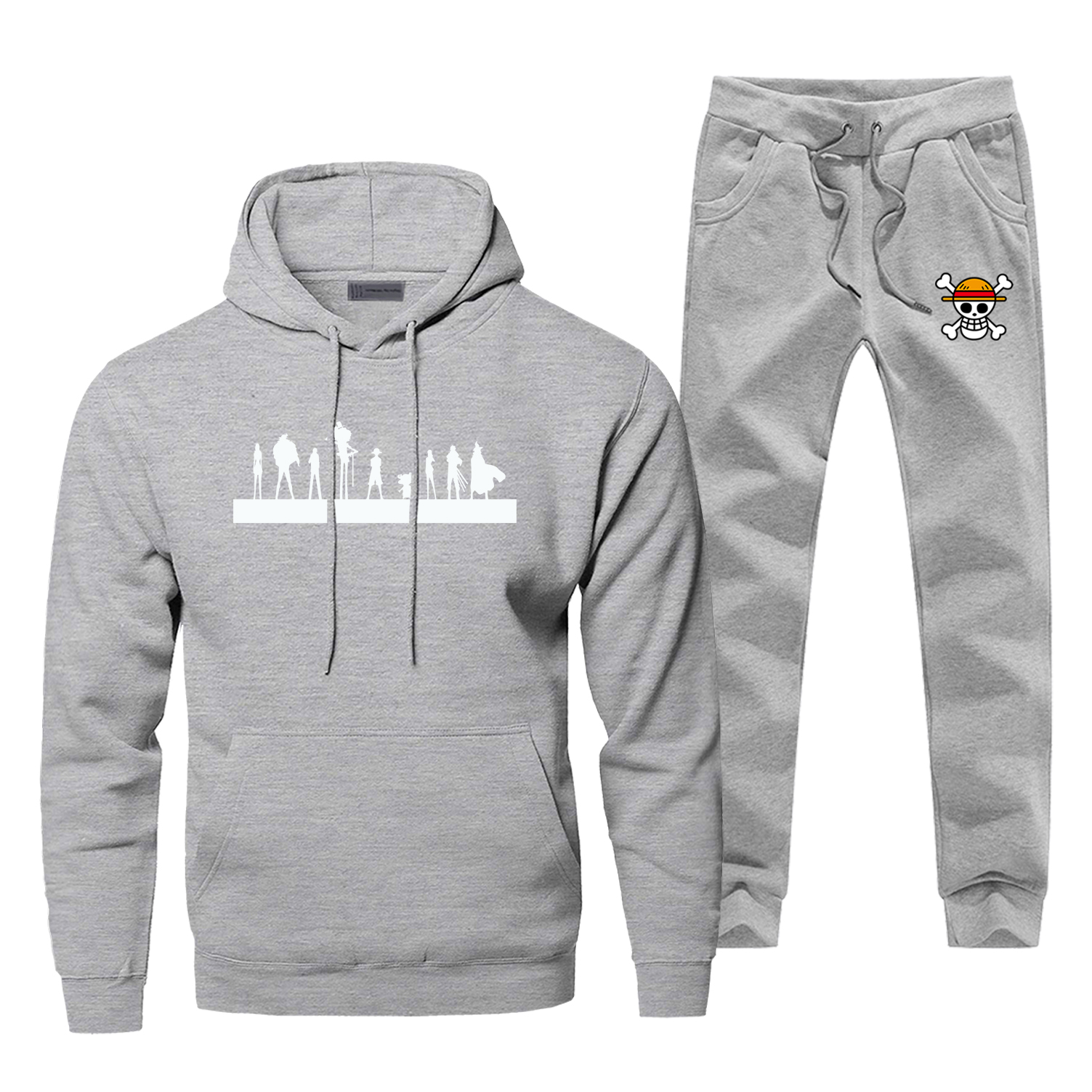 Hoodie Skull Luffy Pants Set Men One Piece Sweatshirt Male Hoodies Sweatshirts Mens Sets 2 Piece Pant Pullover Japan Anime Coat