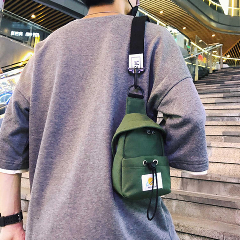 AELFRIC Kleine Canvas Borst Pakken voor Mannen Vrouwen Crossbody Tassen Hip Hop Streetwear Tas Multifunctionele Mini Riem Taille Borst Bag