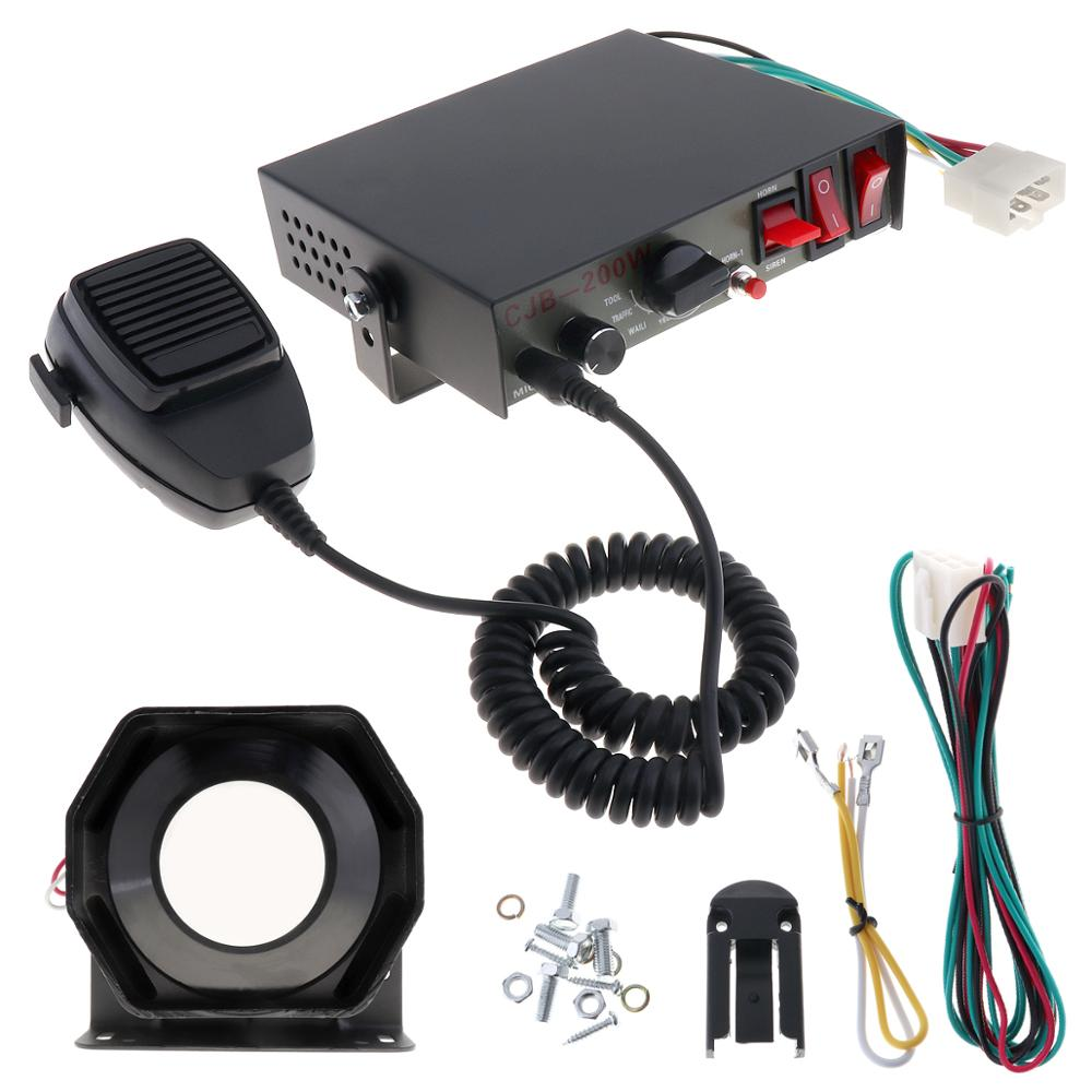 12V 200W 8 Sound Speaker Auto Car Siren Horn Warning Alarm Police Fire Siren Horn PA with Microphone MIC System