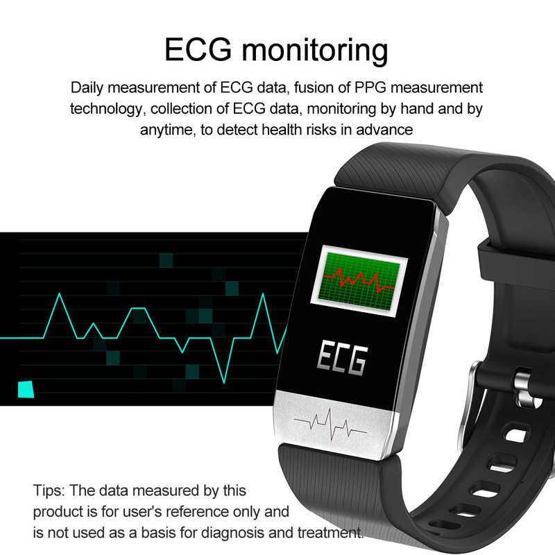 MAFAM T1 Smart Watch Band Temperature Measure ECG Heart Rate Blood Pressure Monitor Weather Forecast Drinking Remind men women 3