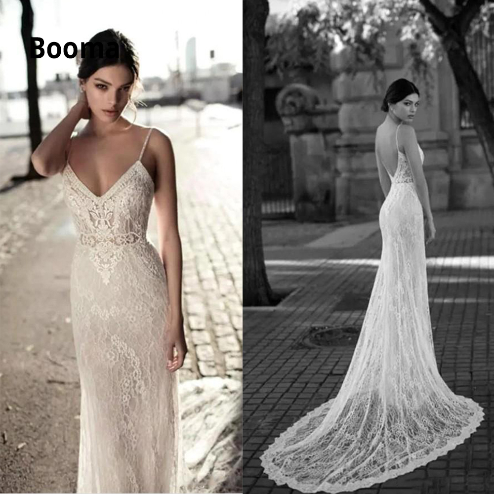 Booma 2020 Sleeveless Lace Wedding Dresses Mermaid Vintage Bridal Gowns Boho V-neck Princess Party Dress Plus Size