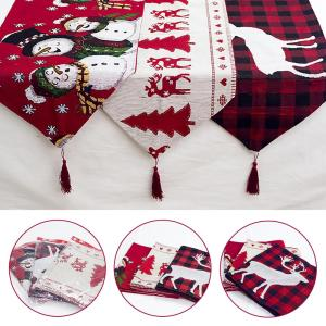 Huiran Linen Christmas Elk Snowman Table Runner Merry Christmas Decor For Home 2020 Xmas Ornaments New Year's Decor 2021 Navidad