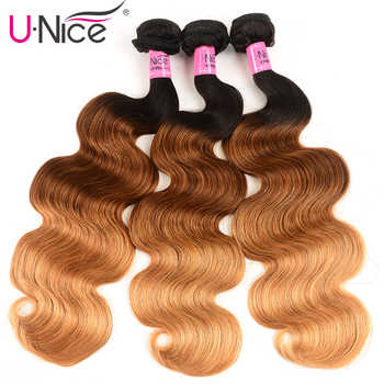 UNICE HAIR Peruvian Body Wave Ombre Hair Extensions Color T1b/4/27 Human Hair 3 Bundles Three Tone Remy Hair Weaves 16-26inch - DISCOUNT ITEM  30% OFF All Category