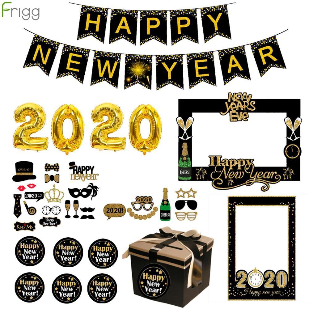 Feliz decoraciones de Año Nuevo, marco de fotos, globos, adornos de Navidad, adornos navideños para el hogar, regalos de Navidad, 2020