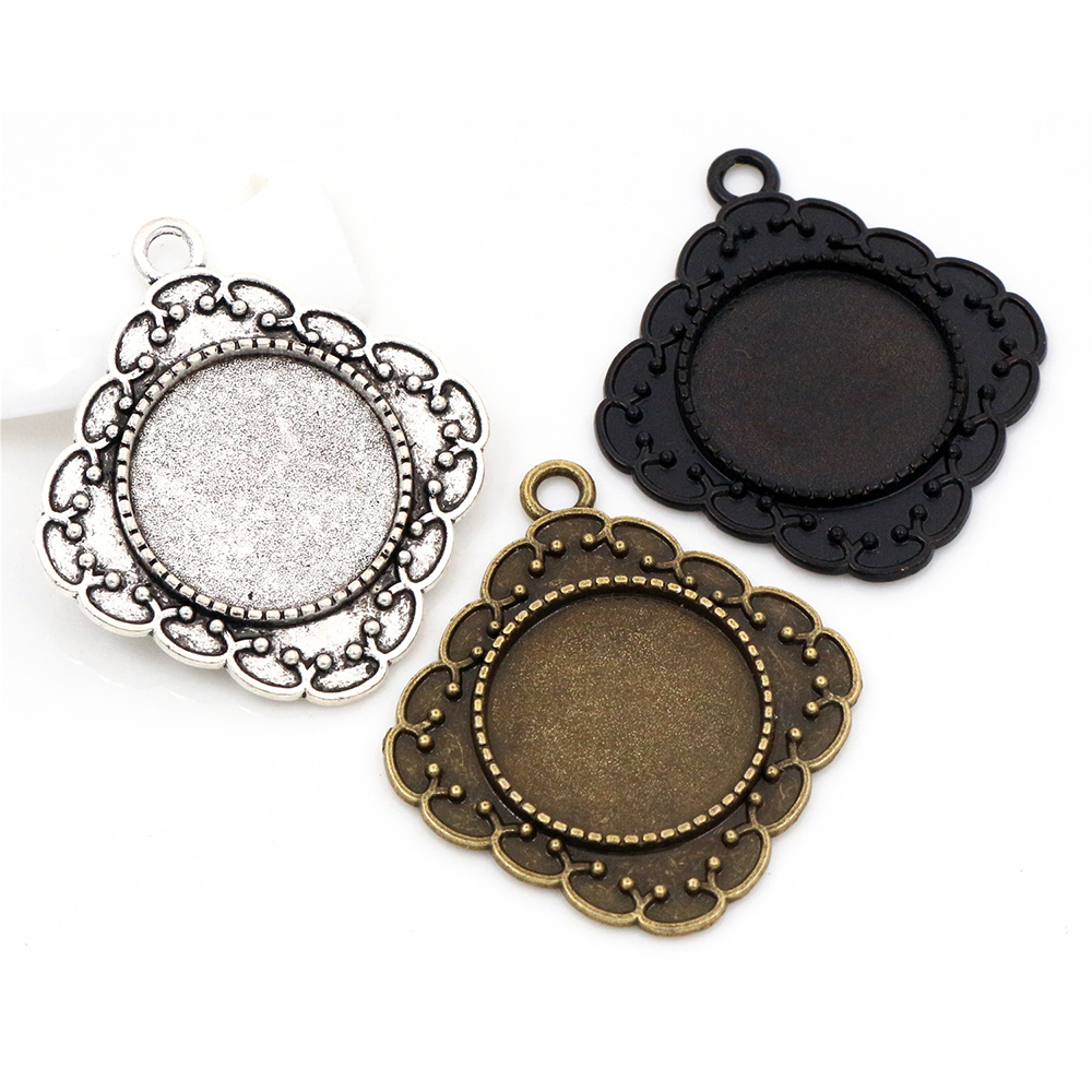 10pcs 20mm Inner Size Antique Silver Plated Bronze Black Colors Plated Classic Style Cabochon Base Setting Charms Pendant