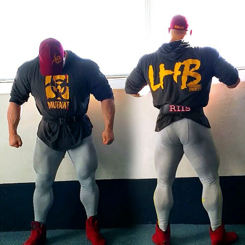 Brand Clothing Bodybuilding Letters Fitness Men Gyms Hooded Sportswear Long Sleeve Shirt Hoodie Musculation