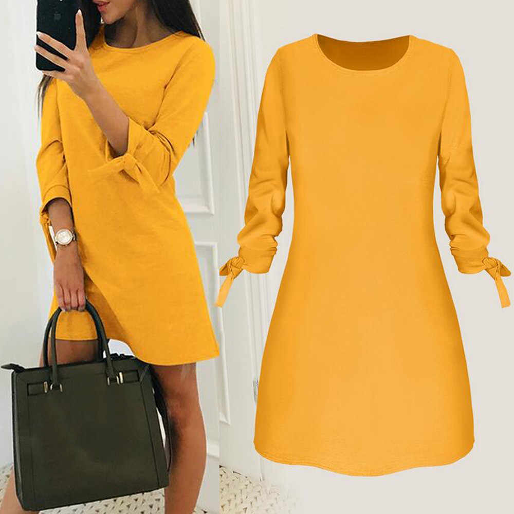 платье женское Hot Sale Winter Dress Women Fashion Solid Plain Bowknot Elegant Dress Spring Loose Dress ropa mujer