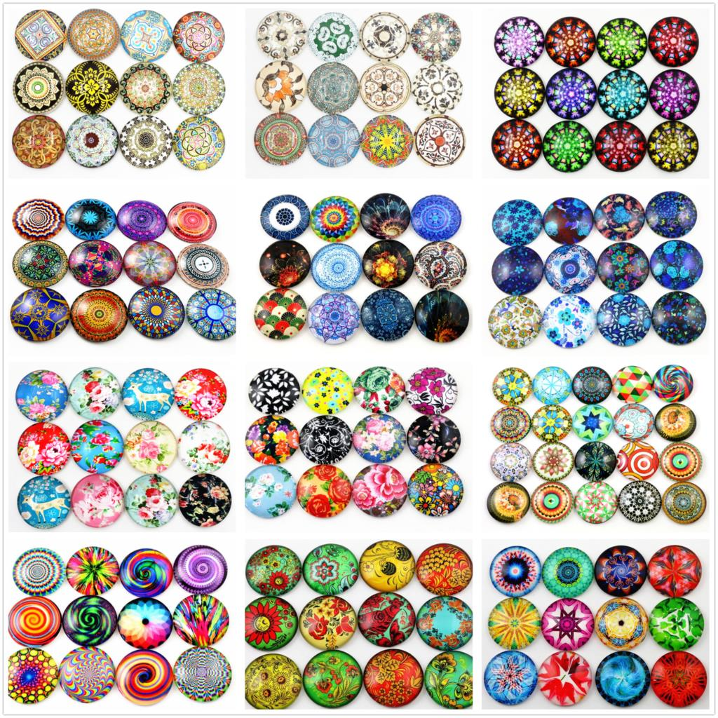 Hot Sale 10pcs 25mm New Fashion 16style Mixed Handmade Glass Cabochons Pattern Domed Jewelry Accessories Supplies