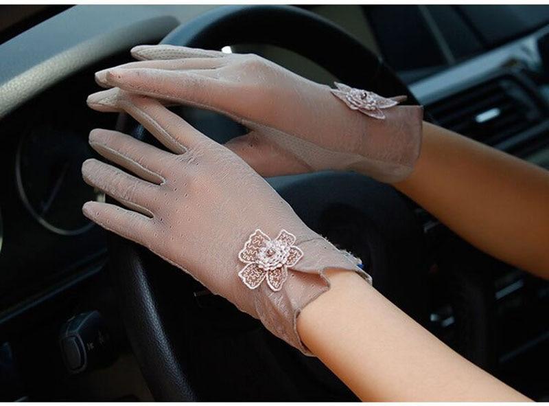 Sanderala Touch Screen Ice Silk Women Gloves Sexy Female UV Lace  Fashion Driving Non-slip Elegant