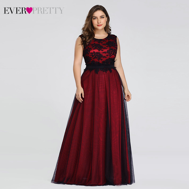 Plus Size Lace Evening Dresses Long Ever Pretty A-Line O-Neck Sleeveless Appliques Tulle Formal Party Gowns Robe De Soiree 2020