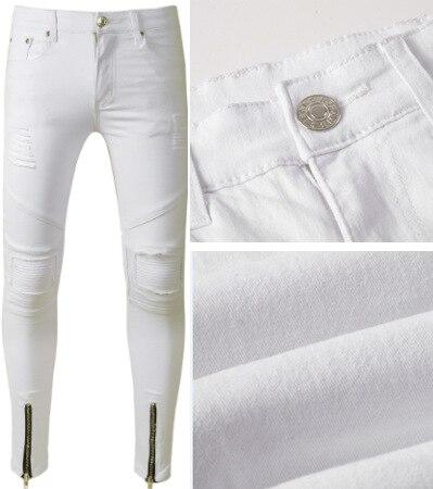 Jeans Men's European And American-Style Men's Jeans White Locomotive With Holes Men's Pants Stylish Cowboy