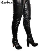 Sorbern Fashion Block Heels Crotch Thigh Boot Black Women Big Size Custom Wide Calf Fit Chunky Heels Sexy Fetish Boots Ladies