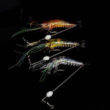 3pcs YUZI 9cm 6g Artificial Shrimp Fly Fishing Lures Soft lure Bait with Hook Luminous Glow Bead Silicon Tackles LE007