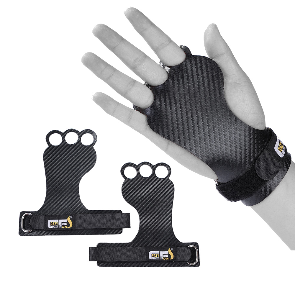 Carbon Gymnastics Hand Grips For Weight Lifting Crossfit Pullups Workout Palm Protector Gym Grip Gloves NEW ERGONOMIC DESIGN