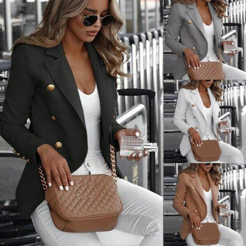 S-5XL Plus Size Women Long Sleeve Button Blazer Office Jacket Coat Outerwear Autumn Winter Warm Tops Blazers Suit Casual Clothes