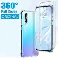 Custodia protettiva in Silicone trasparente di lusso a 360 ° per Huawei P40 P20 P30 Lite Pro Cover posteriore con protezioni di schermo in idrogel pellicola Non bicchieri