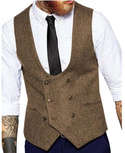 Brown Wool Groom Vests Country Herringbone Tweed Double Breasted Wedding Party For Men Attire Groomsmen Vest Prom Waistcoat