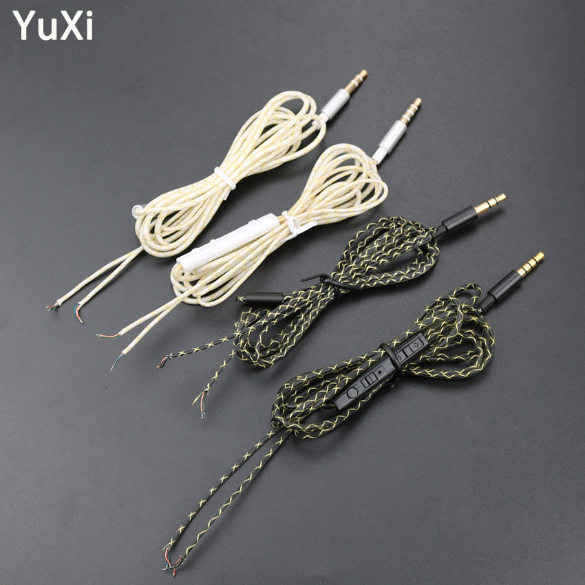YuXi HIFI Earphone Line Repair 3.5mm 3pole 4pole Plug Jack DIY Earphone Audio Cable Controller Repair Replacement Headphone Wire