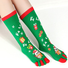 Women socks snowman pattern green color and odor-proof Christmas five-fingered toe funny for girls gitfs