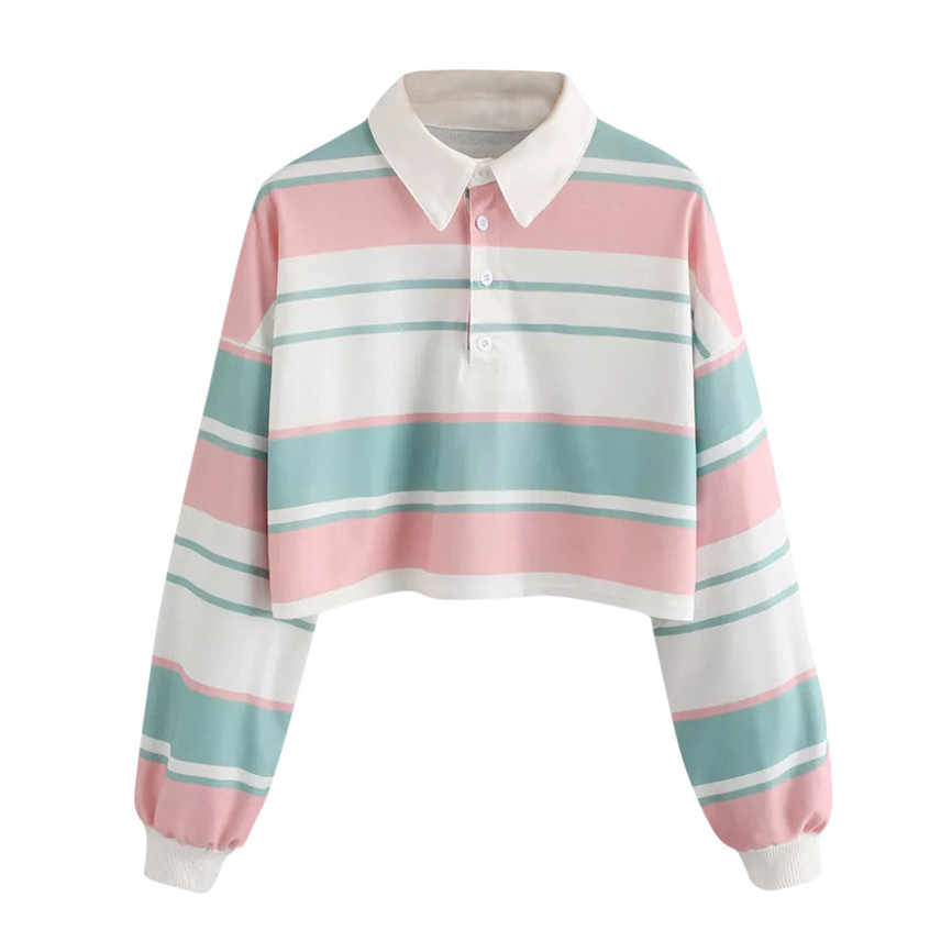 NEUE Herbst 2019 Sweatshirts Frauen Crop Tops Striped Lange Hülse Drehen Unten CollarTops Und Blusen Harajuku Kawaii Sweatshirts