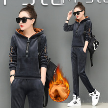 2019 winter new two piece slim fit plus velvet thick gold velvet casual sports suit warm hooded