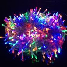 Светодиодный гирляндовый светильник, Рождественская наружная гирлянда, 10 м, 20 м, 30 м, 50 м, 100 м, праздничное освещение для рождественской елки, украшения для свадебной вечеринки