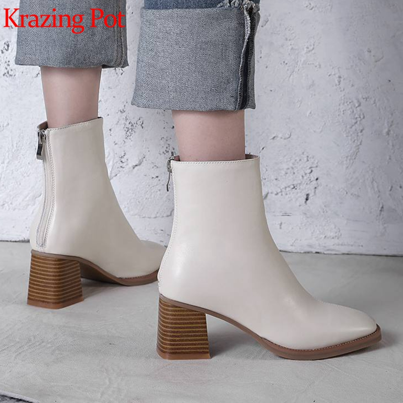 Krazing Pot Genuine Leather Round Toe High Heels Zipper Ankle Boots High Street Fashion Concise Simple Style Chelsea Boots L32