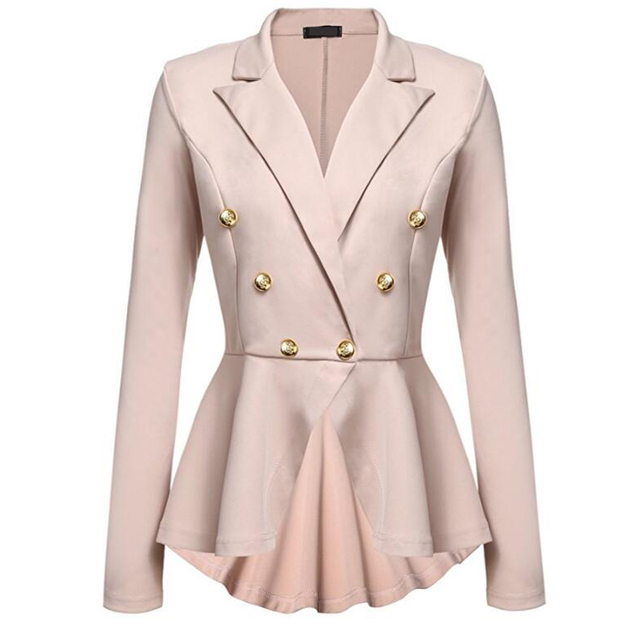 CINESSD Women Blazer Coats Notched Long Sleeves Double Breasted Metal Button Slim Casual Suits Jackets Solid Cotton Lady Blazers 6