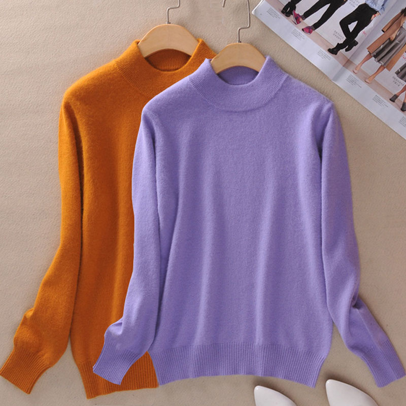 2020 Autumn Sweaters Turtleneck Women Spring Clothes Leisure Cashmere Knitwear Sweater Thick Knitted Shirt Tops Sweaters Black