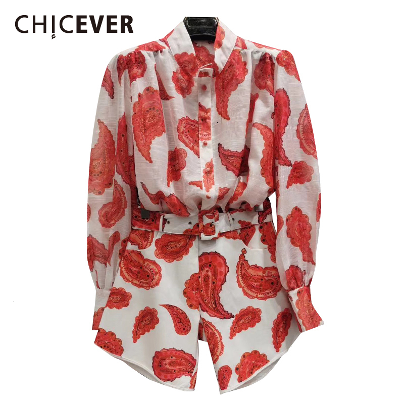 CHICEVER Print Hit Color Two Piece Set Female Lapel Collar Lantern Sleeve Blouse High Waist Lace Up Short Casual Suit Women 2019