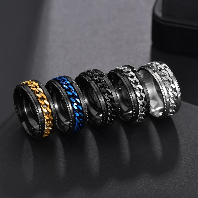 Cool Stainless Steel Rotatable Men Couple Ring High Quality Spinner Chain Rotable Rings Punk Women Man Jewelry for Party Gift