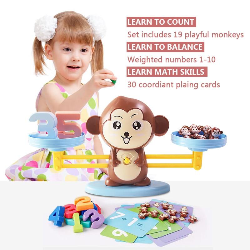 Brinquedo macaco equilíbrio, balança de brinquedo, crianças, brinquedos educativos, macaco, aprendizagem precoce, equilíbrio, matemática para crianças