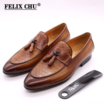 FELIX CHU Mens Tassel Loafers Genuine Leather Luxury Italian Men Style Slip On Dress Shoes Party Wedding Casual Shoes Fashion personalized tassel rivet fashion breathable slip on genuine leather men shoes rhinestone handmade casual party nightclub shoes
