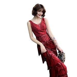 Image 5 - 2020 판매 칵테일 드레스 Vestido 칵테일 토스트 드레스 신부 가을 2020 새로운 감사 연회 호스트 테일 쇼 얇은 저녁