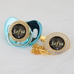 Image 5 - MIYOCAR אישית כל שם יכול להפוך זהב בלינג מוצץ שחור זהב ומוצץ קליפ BPA משלוח dummy בלינג ייחודי עיצוב p8