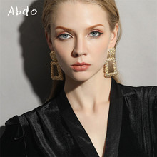 New Big Vintage Earrings For Women Gold Silver Color Geometric Statement Earing 2019 Metal Hanging Fashion Jewelry Trend Gift(China)
