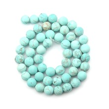 Wholesale Natural Stone Beads Matte Blue Turquoises Round Beads for Necklace Jewelry Making Pick 4 6 8 10 12 14 Mm 15.5 Inches все цены