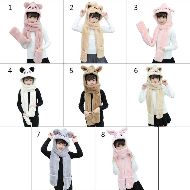 3 In 1 Kids Scarf Hat Gloves Plush Animal Pattern Hoodie Earflap Head Cap Shawl