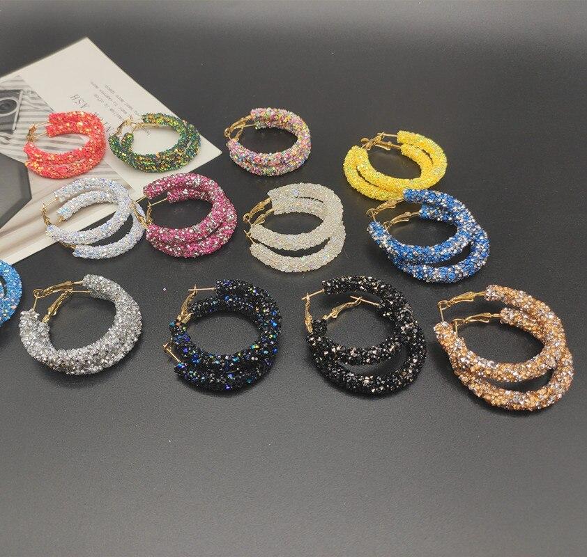 Fashion Simple New Design Fashion Charm Crystal Hoop Earrings Geometric Round Shiny Rhinestone Big Earring Jewelry Dropshipping